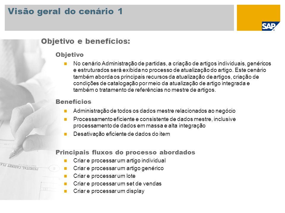 Visão geral do cenário 1 Objetivo No cenário Administração de partidas, a criação de artigos individuais, genéricos e estruturados será exibida no pro