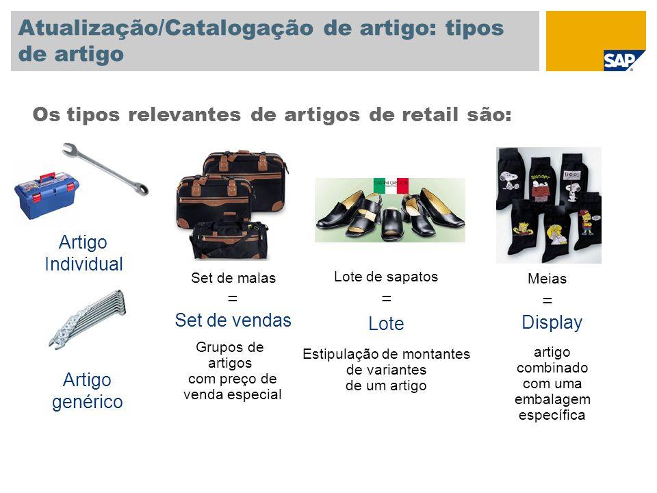 Atualização/Catalogação de artigo: tipos de artigo Os tipos relevantes de artigos de retail são: Lote de sapatos = Lote Estipulação de montantes de va