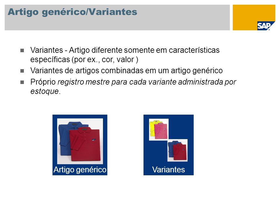 Artigo genérico/Variantes Variantes - Artigo diferente somente em características específicas (por ex., cor, valor ) Variantes de artigos combinadas e