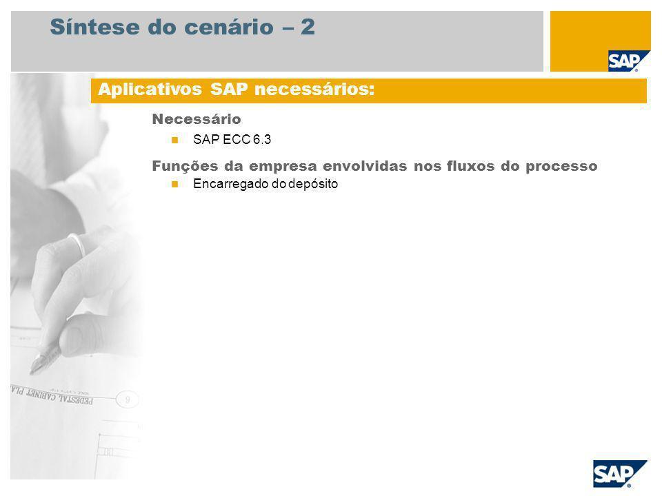 Síntese do cenário – 2 Necessário SAP ECC 6.3 Funções da empresa envolvidas nos fluxos do processo Encarregado do depósito Aplicativos SAP necessários