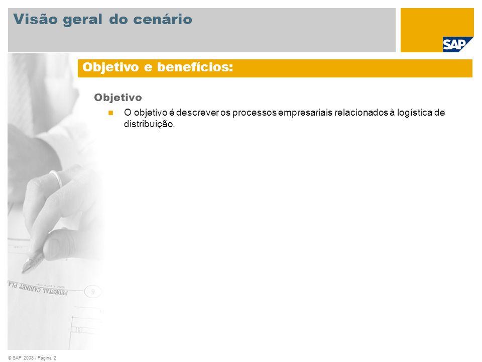 © SAP 2008 / Página 2 Objetivo O objetivo é descrever os processos empresariais relacionados à logística de distribuição. Objetivo e benefícios: Visão