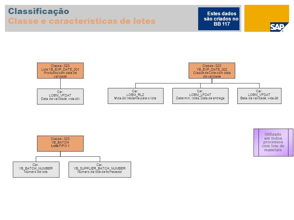 Classificação Classe e características de lotes Classe - 023 Lote YB_EXP_DATE_001 Produtos com data de validade Car. LOBM_VFDAT Data de validade, vida