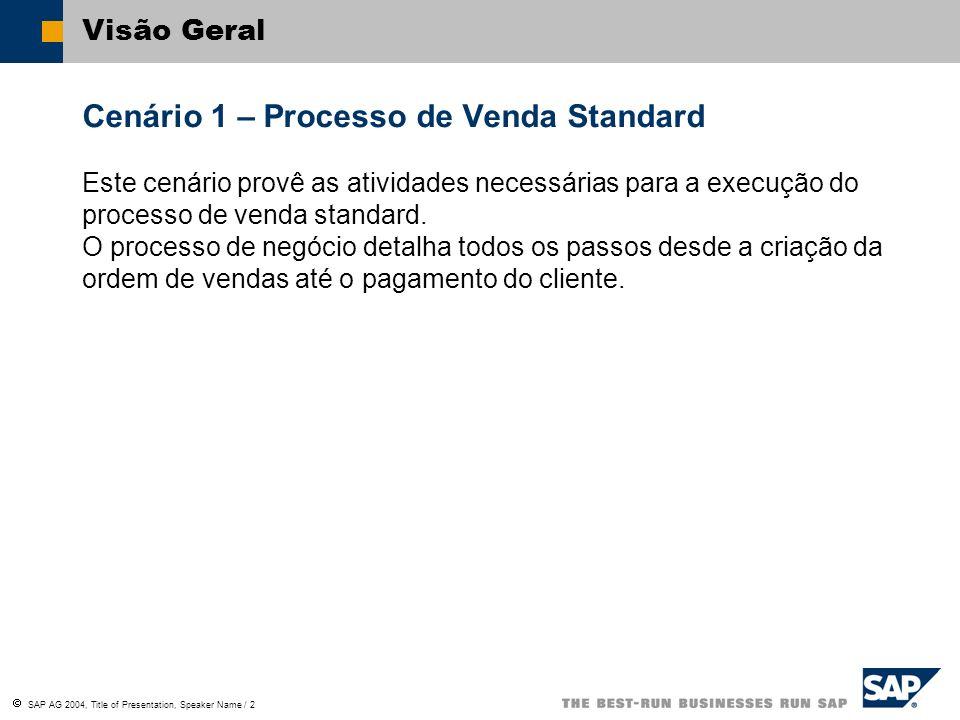 SAP AG 2004, Title of Presentation, Speaker Name / 2 Visão Geral Cenário 1 – Processo de Venda Standard Este cenário provê as atividades necessárias p
