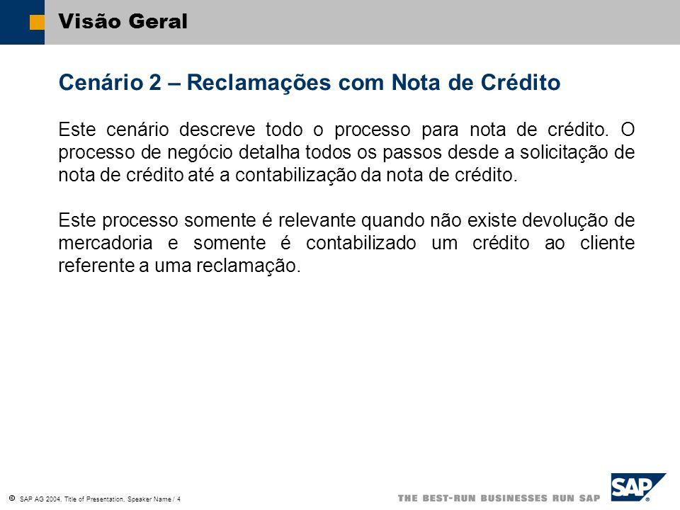 SAP AG 2004, Title of Presentation, Speaker Name / 4 Cenário 2 – Reclamações com Nota de Crédito Este cenário descreve todo o processo para nota de cr
