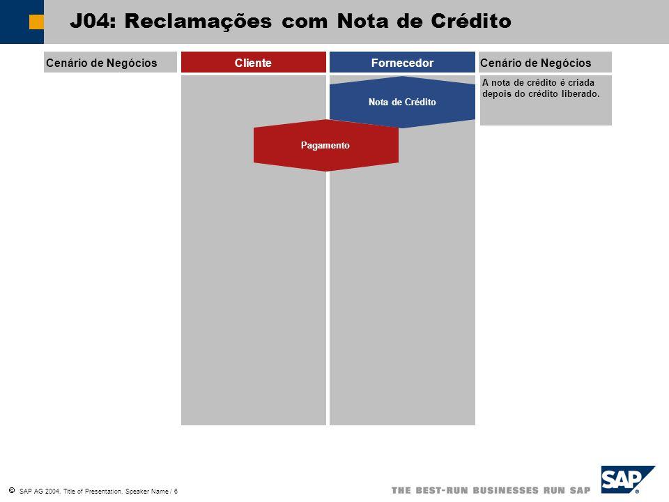 SAP AG 2004, Title of Presentation, Speaker Name / 6 J04: Reclamações com Nota de Crédito Cenário de NegóciosClienteFornecedorCenário de Negócios Nota