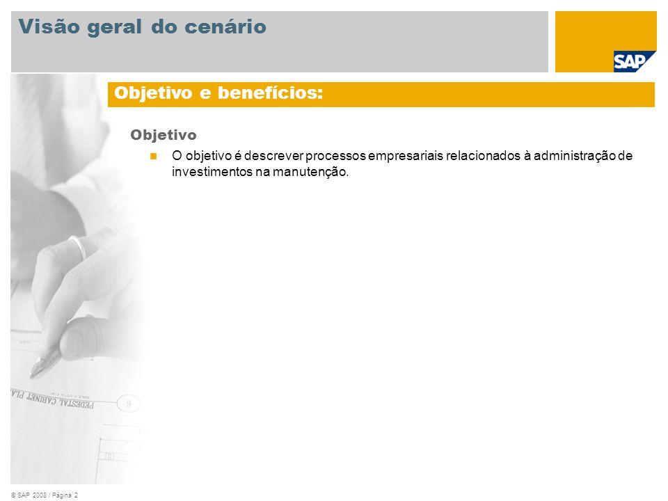 © SAP 2008 / Página 2 Objetivo O objetivo é descrever processos empresariais relacionados à administração de investimentos na manutenção. Objetivo e b