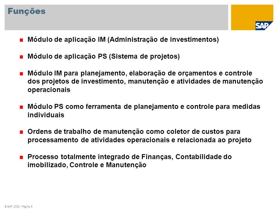 © SAP 2008 / Página 5 Funções Módulo de aplicação IM (Administração de investimentos) Módulo de aplicação PS (Sistema de projetos) Módulo IM para plan