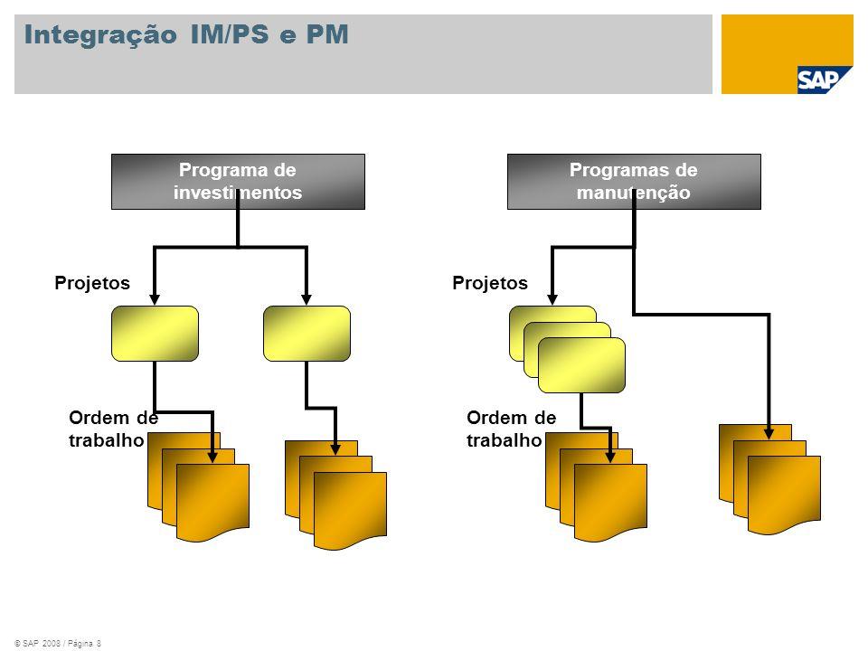 © SAP 2008 / Página 8 Integração IM/PS e PM Programa de investimentos Projetos Ordem de trabalho Programas de manutenção Projetos Ordem de trabalho