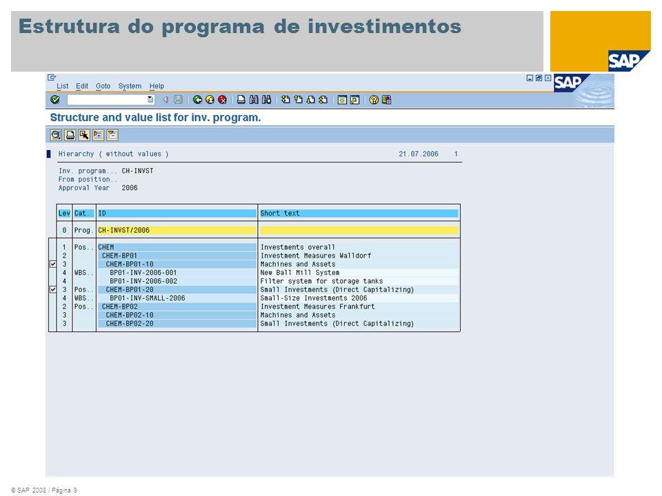 © SAP 2008 / Página 9 Estrutura do programa de investimentos