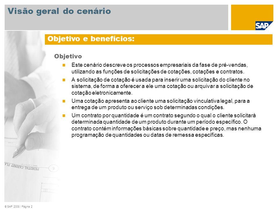 © SAP 2008 / Página 3 Obrigatório SAP EHP3 para SAP ERP 6.0 Funções da empresa envolvidas nos fluxos do processo Vendedor Aplicações SAP obrigatórias: Visão geral do cenário