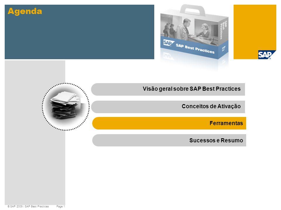 © SAP 2009 / SAP Best Practices Page 12 Agenda Visão geral sobre SAP Best PracticesConceitos de Ativação Ferramentas Sucessos e Resumo