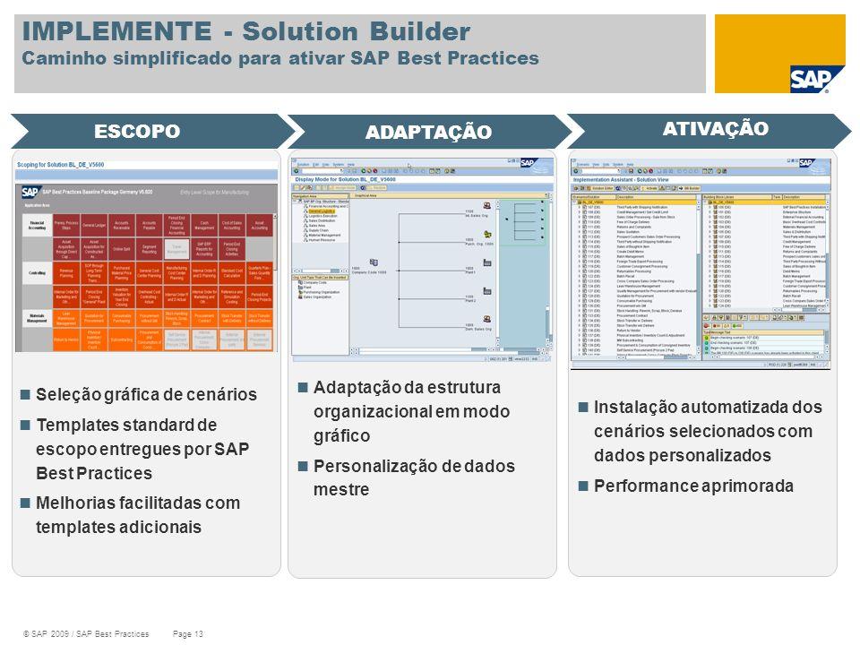 © SAP 2009 / SAP Best Practices Page 13 IMPLEMENTE - Solution Builder Caminho simplificado para ativar SAP Best Practices Seleção gráfica de cenários