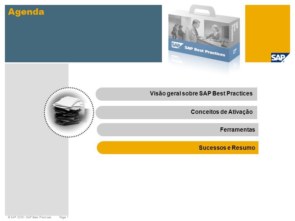 © SAP 2009 / SAP Best Practices Page 15 Agenda Visão geral sobre SAP Best PracticesConceitos de Ativação Ferramentas Sucessos e Resumo