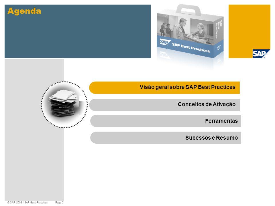 © SAP 2009 / SAP Best Practices Page 2 Agenda Visão geral sobre SAP Best PracticesConceitos de Ativação Ferramentas Sucessos e Resumo