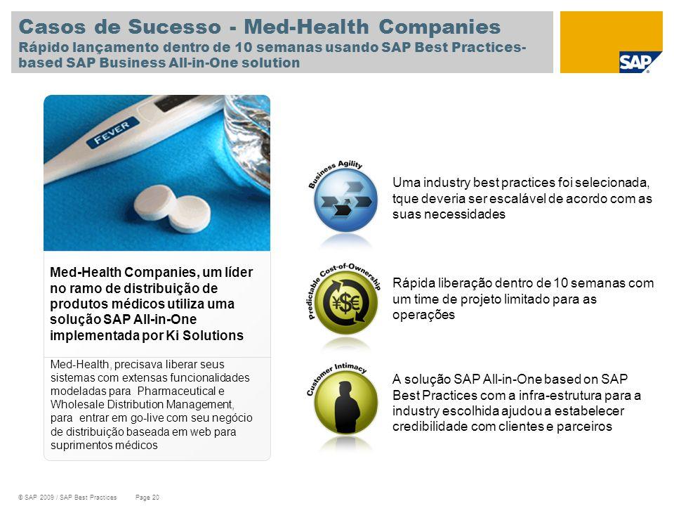© SAP 2009 / SAP Best Practices Page 20 Uma industry best practices foi selecionada, tque deveria ser escalável de acordo com as suas necessidades Cas