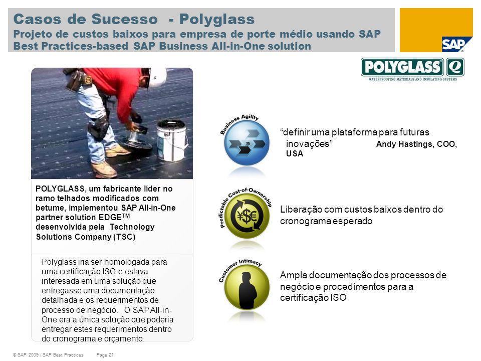 © SAP 2009 / SAP Best Practices Page 21 Casos de Sucesso - Polyglass Projeto de custos baixos para empresa de porte médio usando SAP Best Practices-ba