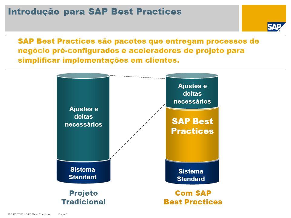 © SAP 2009 / SAP Best Practices Page 3 Introdução para SAP Best Practices SAP Best Practices são pacotes que entregam processos de negócio pré-configu