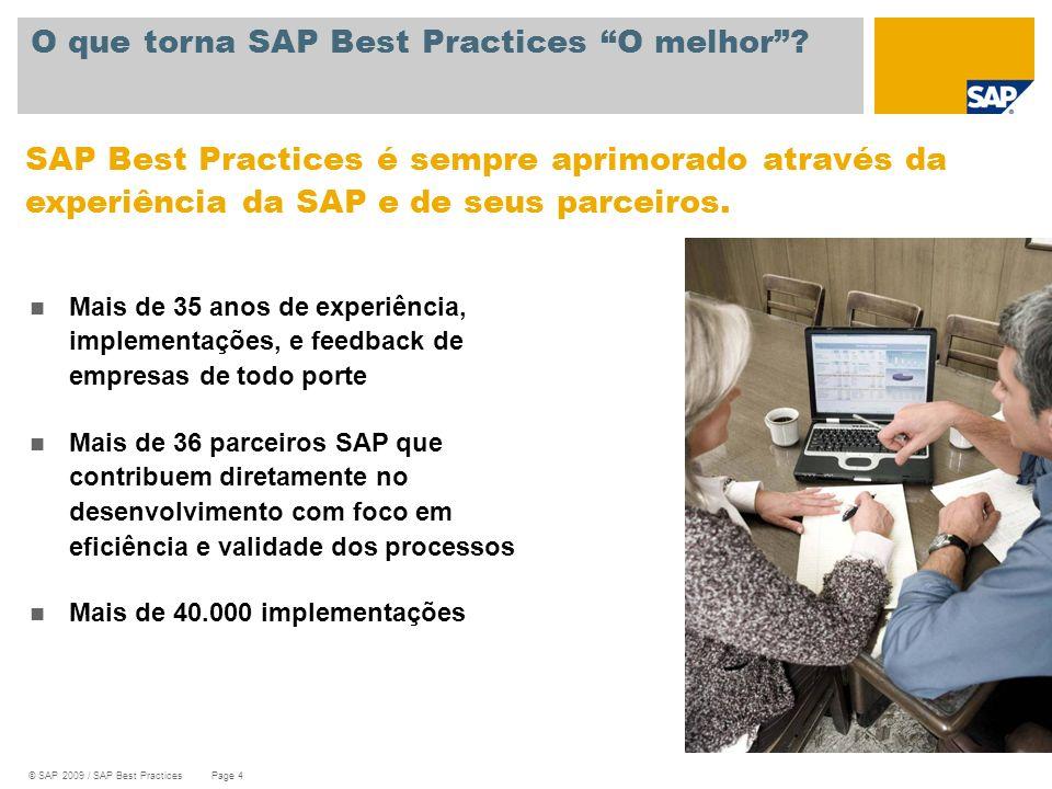 © SAP 2009 / SAP Best Practices Page 4 O que torna SAP Best Practices O melhor? SAP Best Practices é sempre aprimorado através da experiência da SAP e