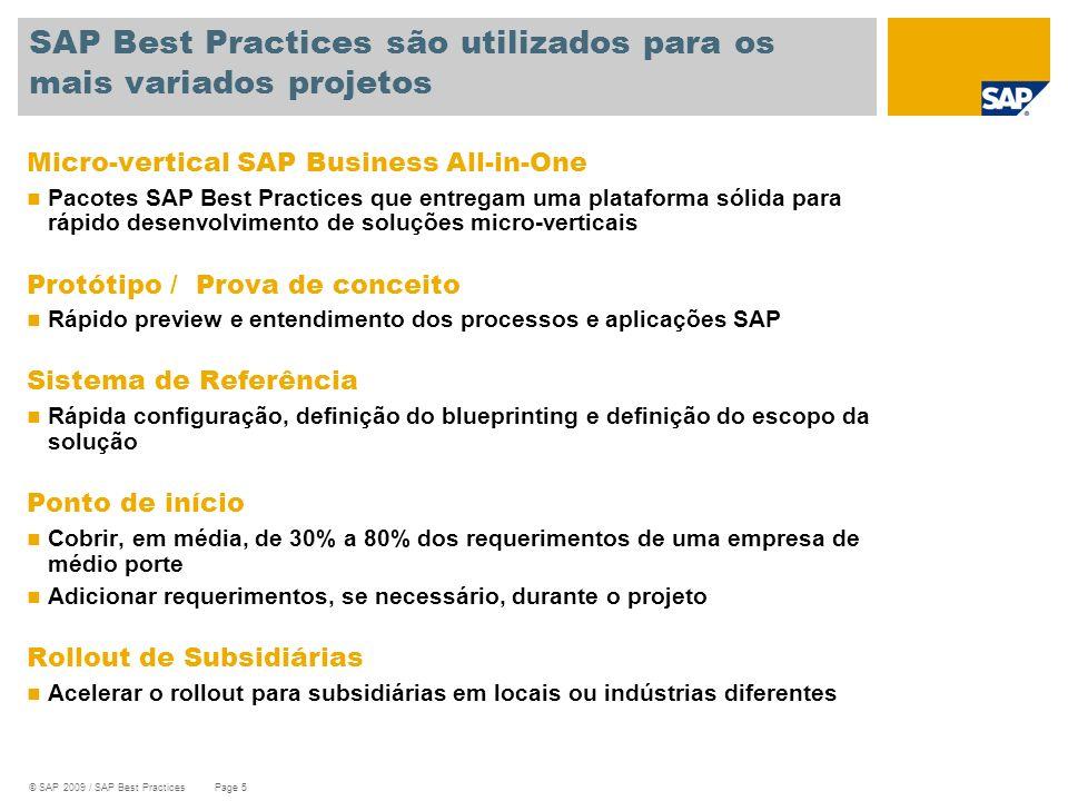 © SAP 2009 / SAP Best Practices Page 5 Micro-vertical SAP Business All-in-One Pacotes SAP Best Practices que entregam uma plataforma sólida para rápid