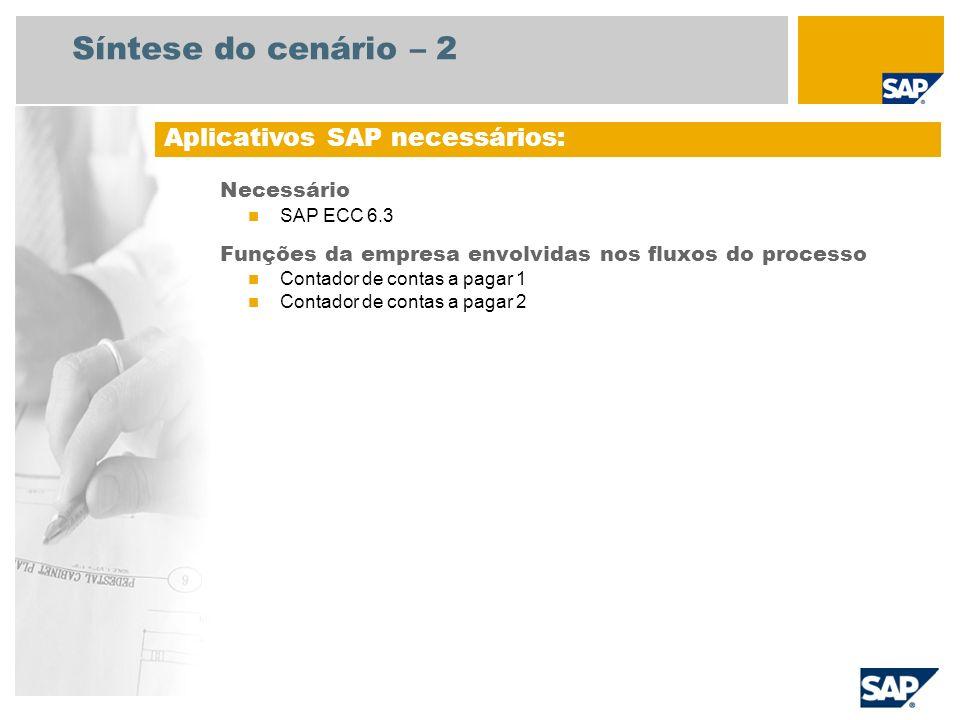 Síntese do cenário – 2 Necessário SAP ECC 6.3 Funções da empresa envolvidas nos fluxos do processo Contador de contas a pagar 1 Contador de contas a p
