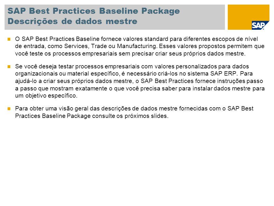 SAP Best Practices Baseline Package Descrições de dados mestre O SAP Best Practices Baseline fornece valores standard para diferentes escopos de nível