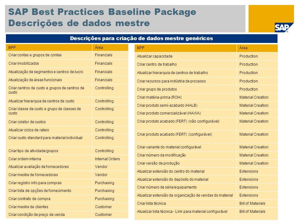 SAP Best Practices Baseline Package Descrições de dados mestre BPPÁrea Criar contas e grupos de contasFinancials Criar imobilizadosFinancials Atualiza