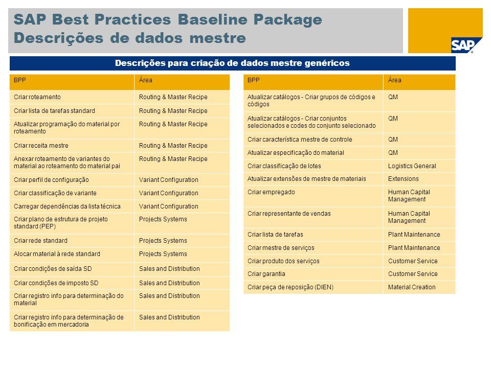 SAP Best Practices Baseline Package Descrições de dados mestre Descrições para criação de dados mestre genéricos BPPÁrea Criar roteamentoRouting & Mas