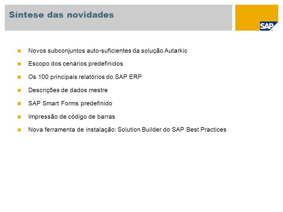 Síntese das novidades Novos subconjuntos auto-suficientes da solução Autarkic Escopo dos cenários predefinidos Os 100 principais relatórios do SAP ERP