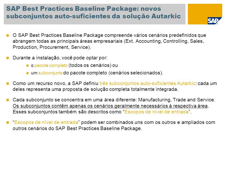 SAP Best Practices Baseline Package: novos subconjuntos auto-suficientes da solução Autarkic O SAP Best Practices Baseline Package compreende vários c