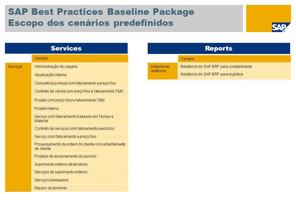 SAP Best Practices Baseline Package Escopo dos cenários predefinidos Cenário ServiçosAdministração de viagens Atualização interna Consultoria pontual