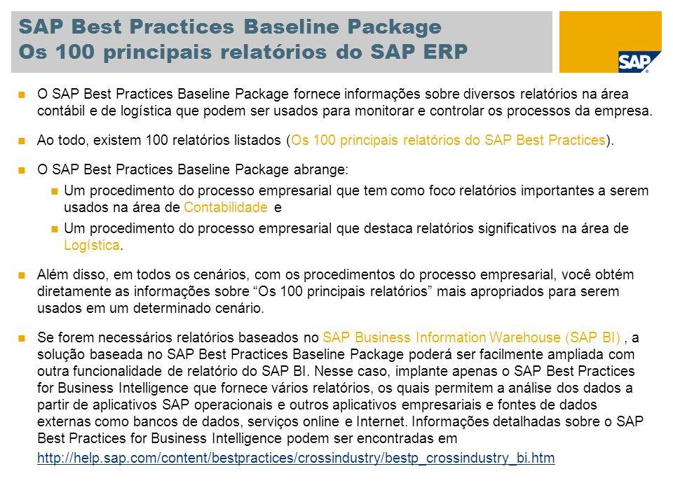SAP Best Practices Baseline Package Os 100 principais relatórios do SAP ERP O SAP Best Practices Baseline Package fornece informações sobre diversos r