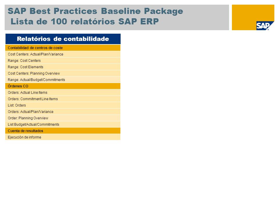 SAP Best Practices Baseline Package Lista de 100 relatórios SAP ERP Contabilidad de centros de coste Cost Centers: Actual/Plan/Variance Range: Cost Centers Range: Cost Elements Cost Centers: Planning Overview Range: Actual/Budget/Commitments Órdenes CO Orders: Actual Line Items Orders: Commitment Line Items List: Orders Orders: Actual/Plan/Variance Order: Planning Overview List Budget/Actual/Commitments Cuenta de resultados Ejecución de informe Relatórios de contabilidade