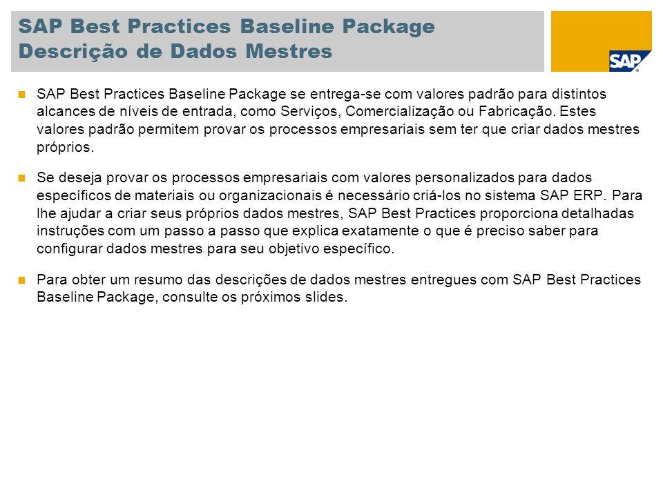 SAP Best Practices Baseline Package Descrição de Dados Mestres SAP Best Practices Baseline Package se entrega-se com valores padrão para distintos alcances de níveis de entrada, como Serviços, Comercialização ou Fabricação.
