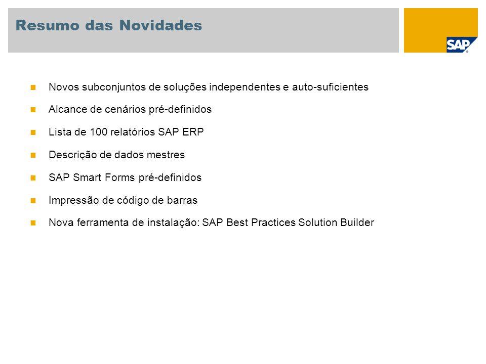Resumo das Novidades Novos subconjuntos de soluções independentes e auto-suficientes Alcance de cenários pré-definidos Lista de 100 relatórios SAP ERP Descrição de dados mestres SAP Smart Forms pré-definidos Impressão de código de barras Nova ferramenta de instalação: SAP Best Practices Solution Builder