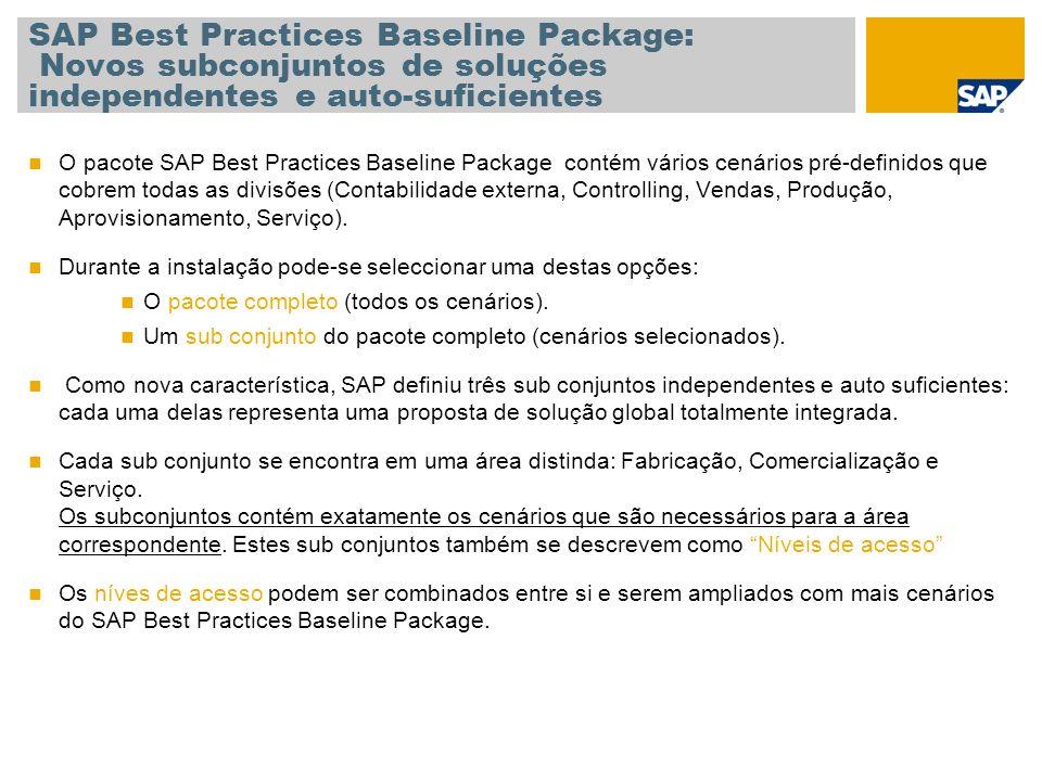 SAP Best Practices Baseline Package: Novos subconjuntos de soluções independentes e auto-suficientes O pacote SAP Best Practices Baseline Package contém vários cenários pré-definidos que cobrem todas as divisões (Contabilidade externa, Controlling, Vendas, Produção, Aprovisionamento, Serviço).