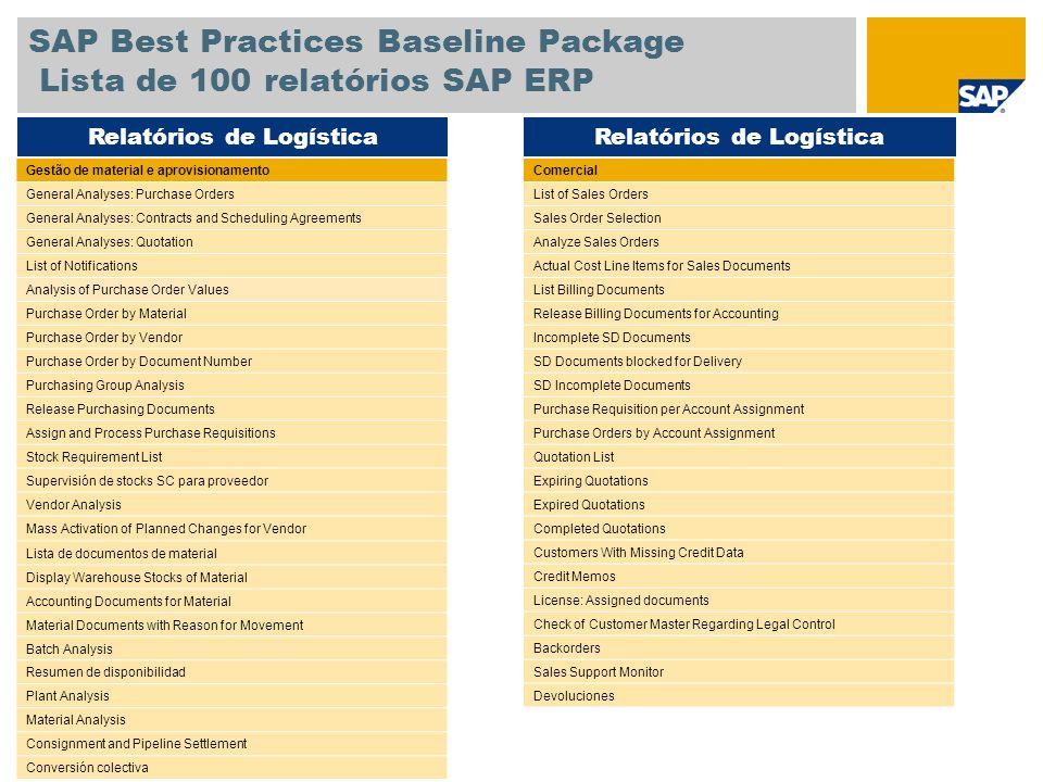 SAP Best Practices Baseline Package Lista de 100 relatórios SAP ERP Comercial List of Sales Orders Sales Order Selection Analyze Sales Orders Actual C