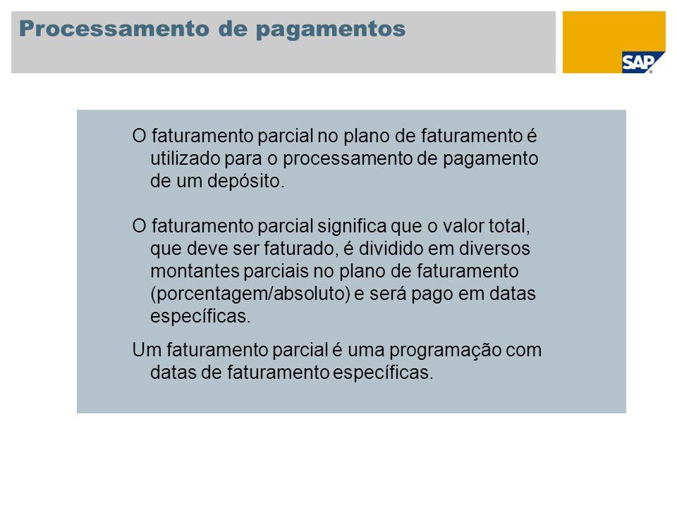 Processamento de pagamentos O faturamento parcial no plano de faturamento é utilizado para o processamento de pagamento de um depósito. O faturamento