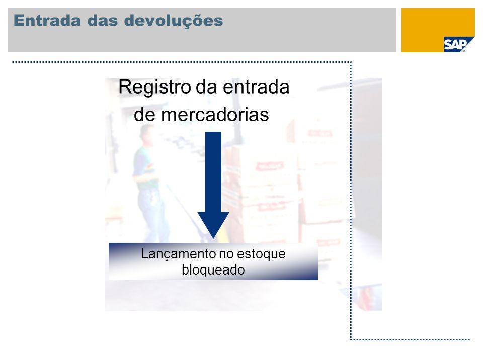 Entrada das devoluções Lançamento no estoque bloqueado Registro da entrada de mercadorias
