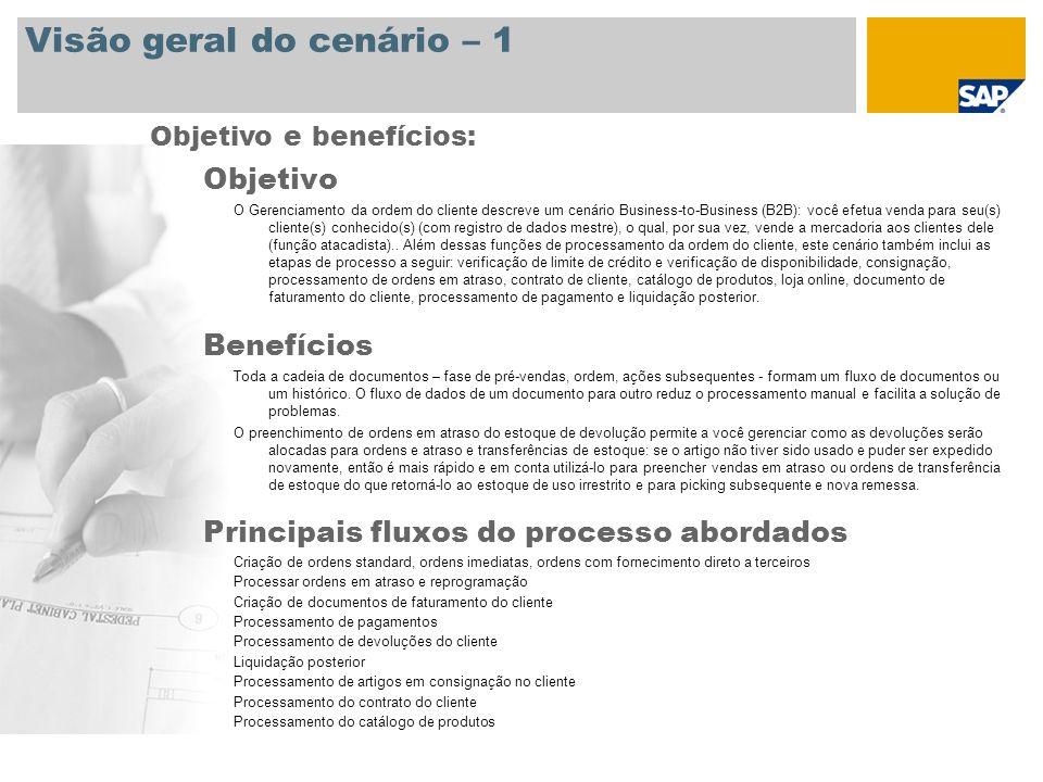 Visão geral do cenário – 1 Objetivo O Gerenciamento da ordem do cliente descreve um cenário Business-to-Business (B2B): você efetua venda para seu(s)