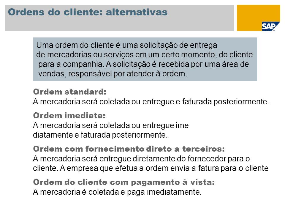 Ordens do cliente: alternativas Uma ordem do cliente é uma solicitação de entrega de mercadorias ou serviços em um certo momento, do cliente para a co