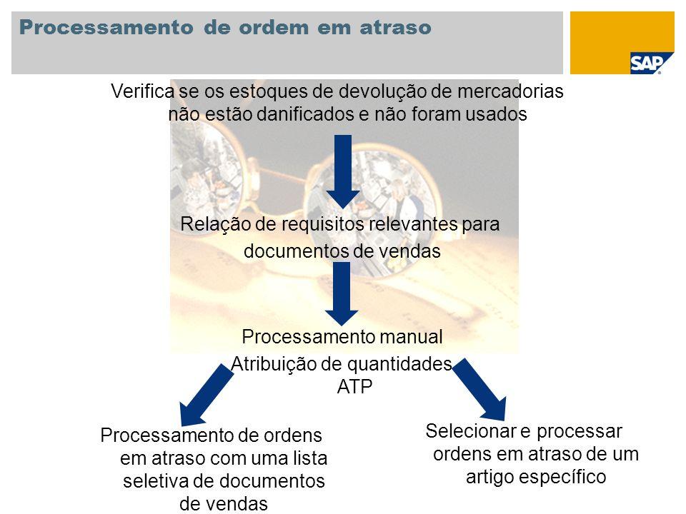 Processamento de ordem em atraso Processamento de ordens em atraso com uma lista seletiva de documentos de vendas Selecionar e processar ordens em atr