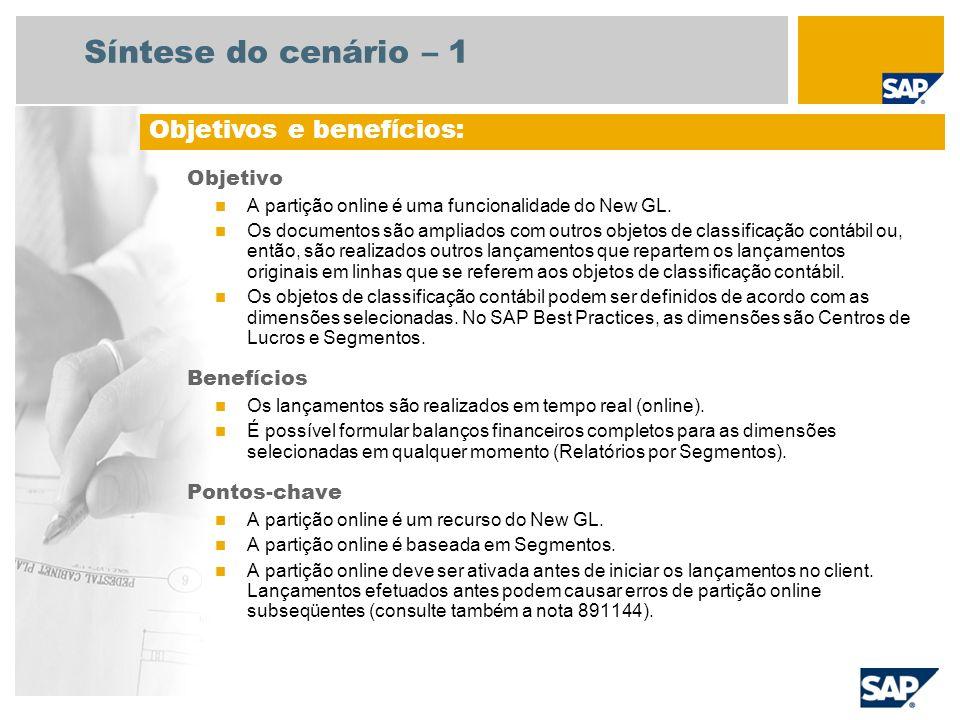 Síntese do cenário – 2 Necessário EHP4 for SAP ERP 6.0 Funções da empresa envolvidas no fluxo do processo Gerente financeiro Contador do Razão Condições especiais para ativar a partição online A partição online deve ser ativada em uma determinada seqüência de instalação.