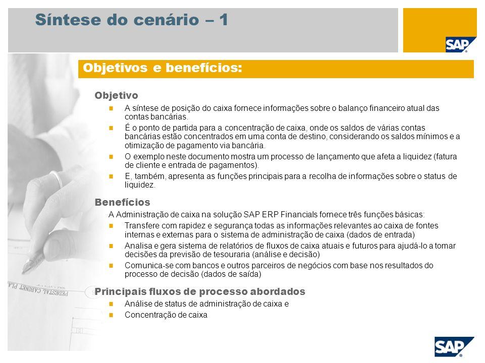 Síntese do cenário – 1 Objetivo A síntese de posição do caixa fornece informações sobre o balanço financeiro atual das contas bancárias. É o ponto de