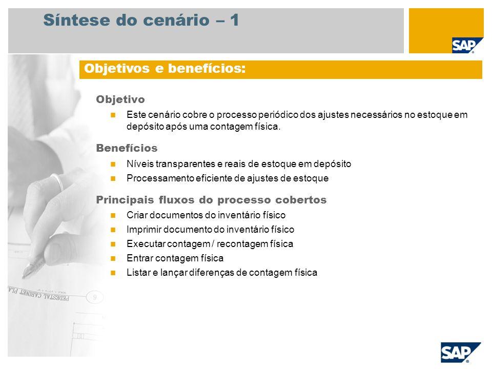 Síntese do cenário – 2 Necessário SAP ECC 6.3 Funções da empresa envolvidas nos fluxos do processo Encarregado do depósito Aplicativos SAP necessários: