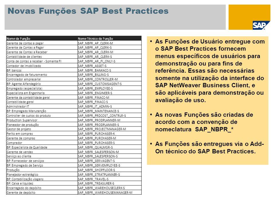 Novas Funções SAP Best Practices As Funções de Usuário entregue com o SAP Best Practices fornecem menus específicos de usuários para demonstração ou p