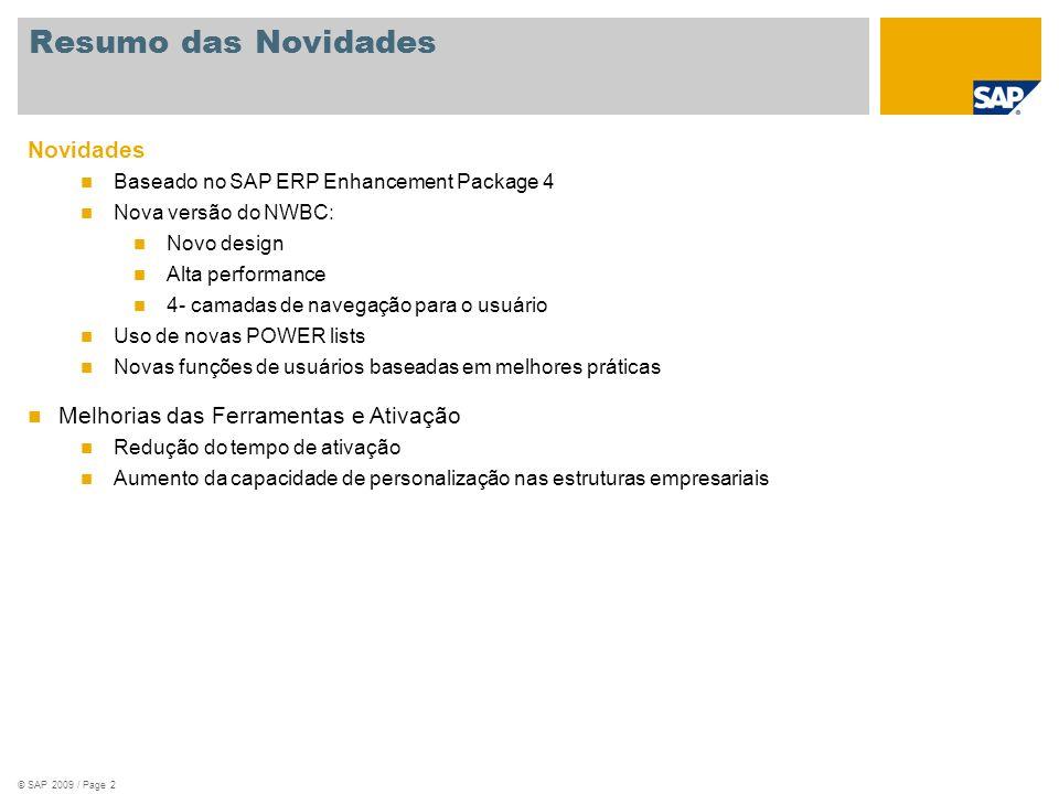 © SAP 2009 / Page 2 Novidades Baseado no SAP ERP Enhancement Package 4 Nova versão do NWBC: Novo design Alta performance 4- camadas de navegação para