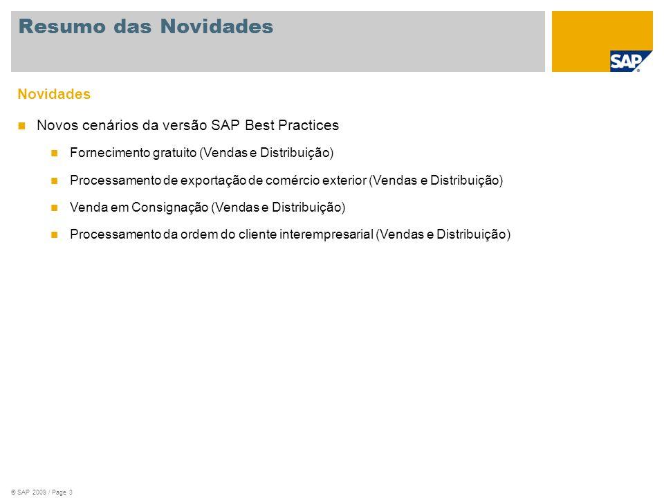 © SAP 2009 / Page 3 Novidades Novos cenários da versão SAP Best Practices Fornecimento gratuito (Vendas e Distribuição) Processamento de exportação de