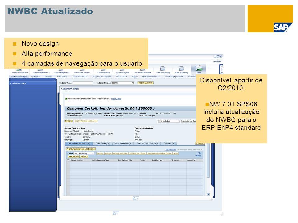 NWBC Atualizado Novo design Alta performance 4 camadas de navegação para o usuário Disponível apartir de Q2/2010: NW 7.01 SPS06 inclui a atualização d