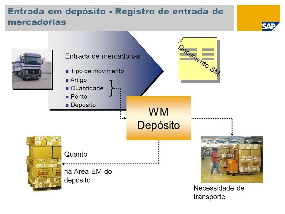 Entrada em depósito - Registro de entrada de mercadorias Documento SM Entrada de mercadorias Tipo de movimento Artigo Quantidade Ponto Depósito Entrad