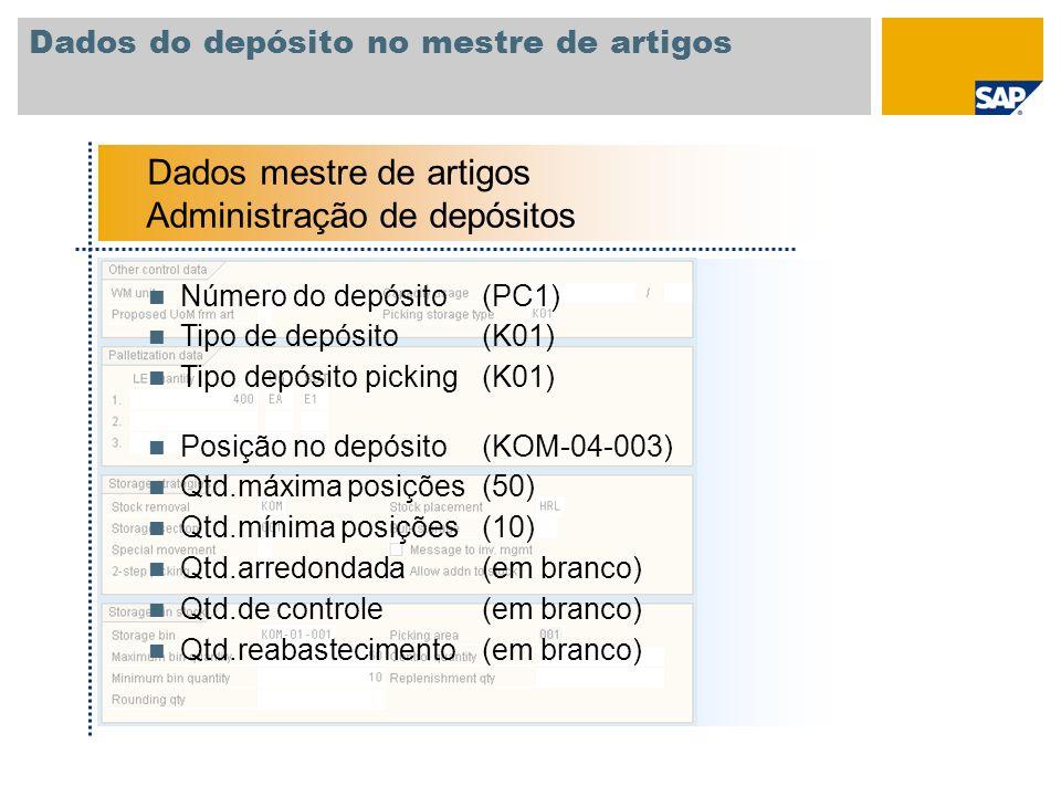 Dados do depósito no mestre de artigos Dados mestre de artigos Administração de depósitos Número do depósito(PC1) Tipo de depósito(K01) Tipo depósito